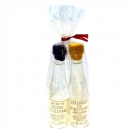 Set of 2 small bottles of Mirabelle and Pear Williams